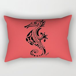 seahorse - red Rectangular Pillow