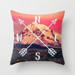 Snowy Mountain Compass Throw Pillow