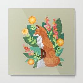 Fox in the Flowers Metal Print