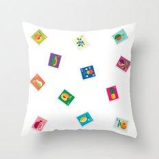 Fruit Stamps Throw Pillow