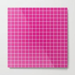 Barbie Pink (Pantone) - fuchsia color - White Lines Grid Pattern Metal Print