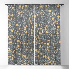 Oranges Black Sheer Curtain