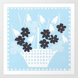 Flower basket snowdrops Art Print