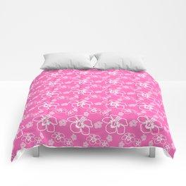 Pink Hawaiian Hibiscus Flowrs Comforters