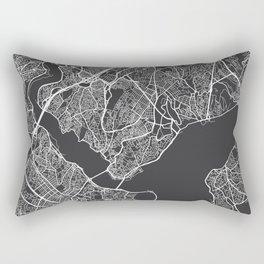 Istanbul Map, Turkey - Gray Rectangular Pillow