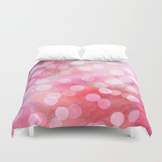 Strawberry Sunday - Pink Abstract Watercolor Dots Duvet Cover
