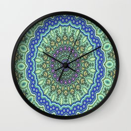 Lovely Healing Mandala  in Brilliant Colors: Purple, Black, Gold, Mint, and Sunset Yellow Wall Clock