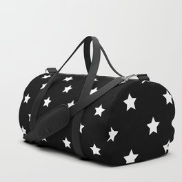 Black Background With White Stars Pattern Duffle Bag
