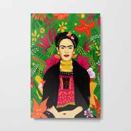 Frida Flower Kalho Art Print by Cindy Rose Studio Metal Print