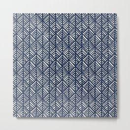 Abstract Leaf Pattern in Blue Metal Print