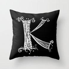 K White on Black Throw Pillow
