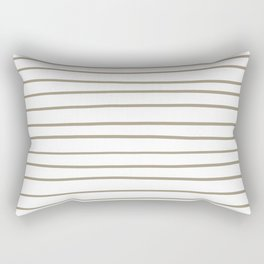 Pantone Twill Brown 16-1108 Hand Drawn Horizontal Lines on White Rectangular Pillow