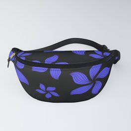 Hawaiian Island Style Violet-Blue Floral Print Fanny Pack