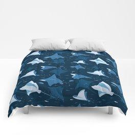 Blue stingrays pattern Comforters