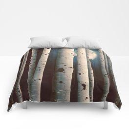 Birch wood at night Comforters