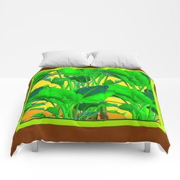 COFFEE BROWN TROPICAL GREEN & GOLD FOLIAGE ART Comforters