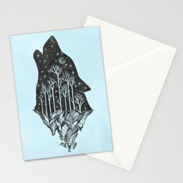 Adventure Wolf - Nature Mountains Wolves Howling Design Black on Turquoise Blue Stationery Cards