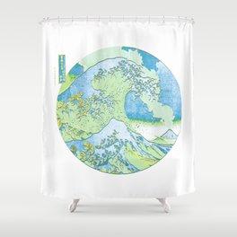 Great Wave Off Kanagawa Blue/Green Shower Curtain