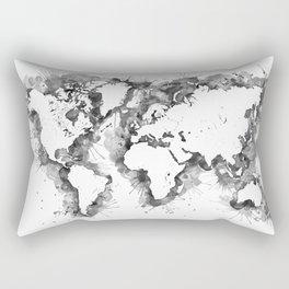 Watercolor splatters world map in grayscale Rectangular Pillow