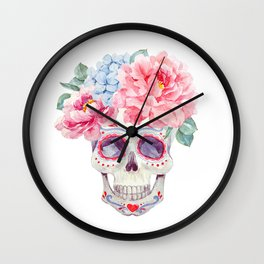 Watercolor mexican holidays of the dead Wall Clock