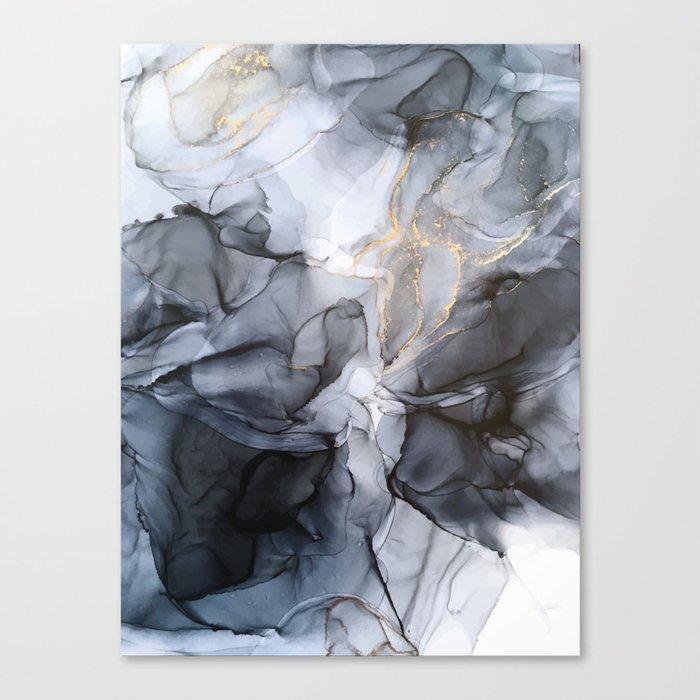 Calm but Dramatic Light Monochromatic Black & Grey Abstract Leinwanddruck