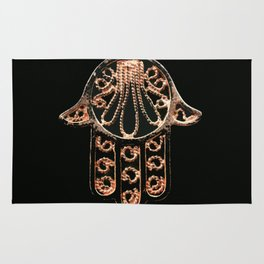 Golden Hamsa Hand On A Black Background #decor #society6 Rug