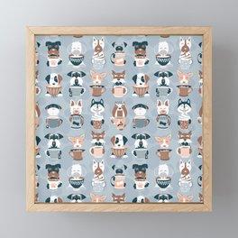 Doggie Coffee and Tea Time I // blue grey Framed Mini Art Print