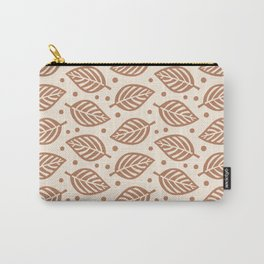 Mid Century Modern Falling Leaves Brown Beige 2 Carry-All Pouch