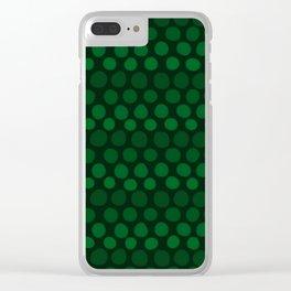 Emerald Green Subtle Gradient Dots Clear iPhone Case