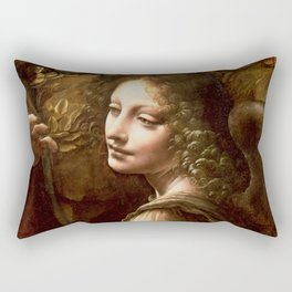 "Leonardo da Vinci Angel in ""The Virgin of the Rocks (London)"" Rectangular Pillow"