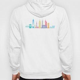 New York Skyline White Hoody