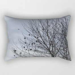 Birds Settling Into a Tree Late on a Winter's Afternoon Rectangular Pillow