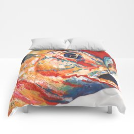 Expressionistic Blue Gill Sport Fish with Lure Comforters