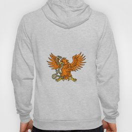 Golden Eagle Grappling Rattlesnake Drawing Hoody