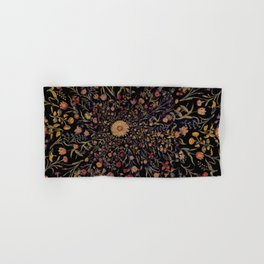 Medieval Flowers on Black Hand & Bath Towel