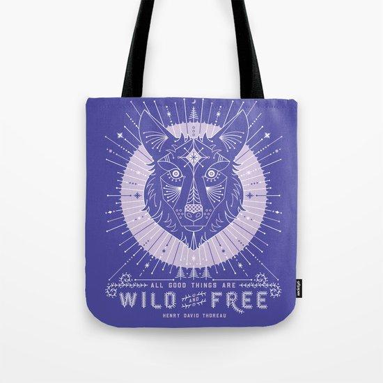 Wild & Free Wolf – Periwinkle Tote Bag