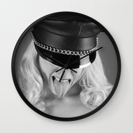 Kinky photography - Sexy woman wearing a leather hat Wall Clock