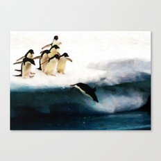 The Penguin Party - Painting Style Canvas Print