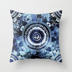 Navy Sea Mandala Throw Pillow
