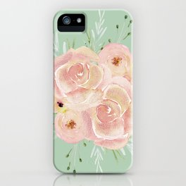 Wild Roses on Pastel Cactus Green iPhone Case