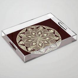 Maroon Mandala Acrylic Tray