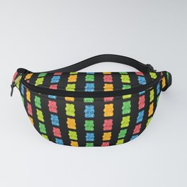 Rainbow Gummy Bears Pattern on Black Background Fanny Pack