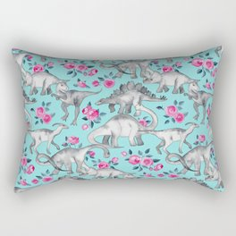 Dinosaurs and Roses - turquoise blue Rectangular Pillow