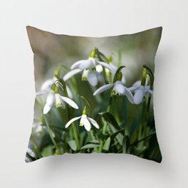 Floral Snowdrops! Throw Pillow