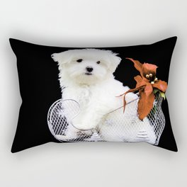 Lancelot the Maltese Puppy in Silver Sled with Red Christmas Poinsettia Rectangular Pillow