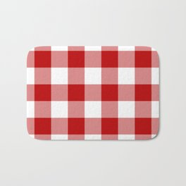 Red and White Buffalo Check Bath Mat