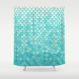 Teal Mermaid Scales Shower Curtain
