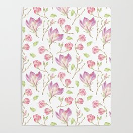Pink lilac watercolor hand painted magnolia pattern Poster