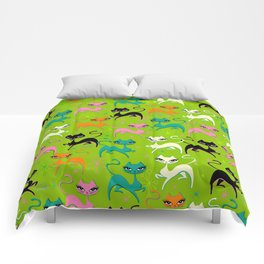 Prancing Kittens on Lime Comforters