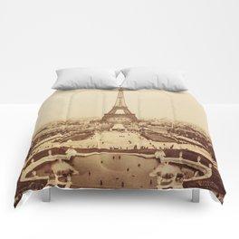 Eiffel Tower and Champ de Mars 1889 Paris Comforters